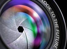Nahaufnahme-Berufsfoto-Linse mit Blick zur Zukunft Abbildung 3D stock abbildung