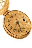 Nahaufnahme der antiken gelben Messingtaschenuhr Stockbild