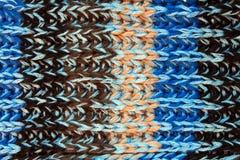 Nahaufnahme der Blau gestrickten Wollebeschaffenheit Stockbilder