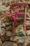 Nahaufnahme der Blumendekoration mit Vasen auf alter Wand mit hölzernem lizenzfreie stockfotos