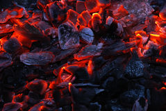 Nahaufnahme der brennenden Holzkohle stockbild