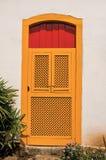 Nahaufnahme der bunten Tür in einer Kopfsteingasse und -vegetation in Paraty Lizenzfreie Stockfotos