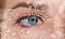 Nahaufnahme der digitalen Wiedergabe des Auges 3D der Frau Stockfoto