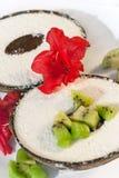 Nahaufnahme der Eiscreme diente im Kokosnusshälftenesprit Lizenzfreies Stockbild