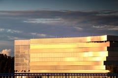 Nahaufnahme der Fassade nagelneuer Donau-Arena, Budapest Stockbild