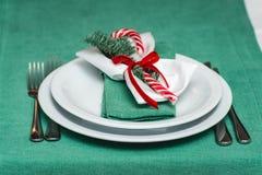 Nahaufnahme der gedienten neues Jahr- oder Weihnachtstabelle Luxusrestaurant Stockbilder