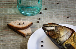 Nahaufnahme der geräucherten Makrele Stockfoto