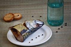 Nahaufnahme der geräucherten Makrele Lizenzfreies Stockbild