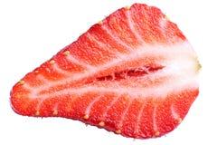Nahaufnahme der geschnittenen Erdbeerehälfte Stockbilder