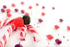 Nahaufnahme der gestreiften Süßigkeiten Stockbild