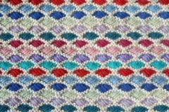 Nahaufnahme der gestrickten Wollebeschaffenheit. Stockbilder