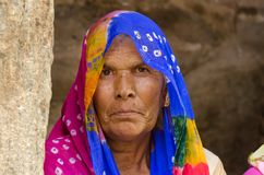 Nahaufnahme der Greisin bei Kumbhalgah in Rajasthan Indien Stockbilder