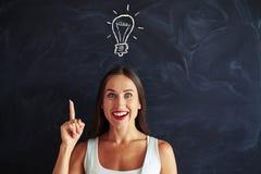 Nahaufnahme der hübschen Frau das Konzept der neuen Idee zeigend Lizenzfreie Stockfotos