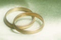 Nahaufnahme der Hochzeitsbänder auf grünem Hintergrund lizenzfreies stockfoto