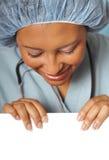 Nahaufnahme der Krankenschwester mit Exemplarplatz lizenzfreie stockfotos
