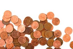 Nahaufnahme der Münzen auf weißem Hintergrund Stockbild