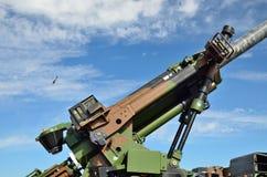 Nahaufnahme der modernen Fliegerabwehrkanone Stockfotografie