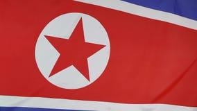 Nahaufnahme der nordkoreanischen Flagge stock footage