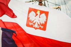 Nahaufnahme der polnischen Staatsflagge mit Emblem Lizenzfreie Stockfotografie