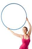 Nahaufnahme der rhythmischen gymnastischen Frau mit Band oben Stockbilder