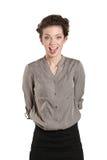 Nahaufnahme der schönen Frau stößt ihre Zunge heraus Lizenzfreie Stockfotos