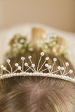 Nahaufnahme der Tiara im Haar der Braut Stockbilder