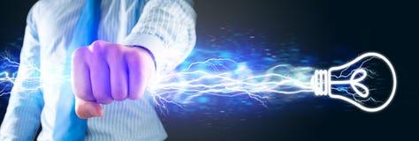 Nahaufnahme der umklammerten Hand mit Lichtern Stockbild