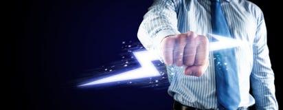 Nahaufnahme der umklammerten Hand mit Lichtern Lizenzfreie Stockbilder
