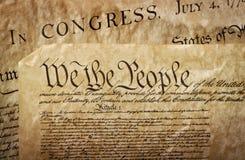 Nahaufnahme der US-Konstitution Lizenzfreie Stockfotos