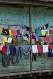Nahaufnahme der Wäscherei hing, um im Dschungel zu trocknen Lizenzfreie Stockfotografie