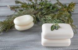 Nahaufnahme der weißen Seife auf einem Holztisch mit grünen Niederlassungen lizenzfreie stockfotografie