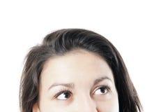 Weibliche Augen, die oben schauen Lizenzfreie Stockfotos