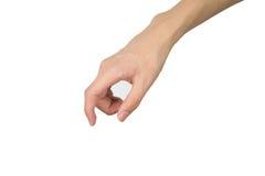 Nahaufnahme der weiblichen Hand gestikulierend, während Sie auf Weiß lokalisiert werden Lizenzfreie Stockbilder