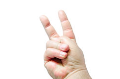 Nahaufnahme der weiblichen Hand gestikulierend, während Sie auf Weiß lokalisiert werden Stockfotografie