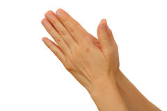 Nahaufnahme der weiblichen Hand gestikulierend, während Sie auf Weiß lokalisiert werden Stockfotos