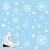 Nahaufnahme der weiblichen Handholding-Eisrochen draußen mit Schnee und Eis im Hintergrund Lizenzfreies Stockbild