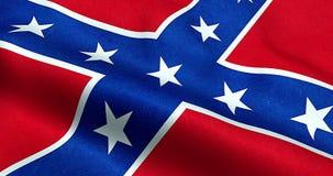 Nahaufnahme der wellenartig bewegenden Flagge der Konföderierten der Animation der Nationalstaaten von Amerika wir, Gewebebeschaf vektor abbildung