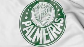 Nahaufnahme der wellenartig bewegenden Flagge mit Palmeiras-Fußball-Vereinlogo, Wiedergabe 3D Stockfotos