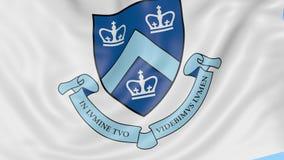 Nahaufnahme der wellenartig bewegenden Flagge mit Universität von Columbias-Emblem, nahtlose Schleife, blauer Hintergrund Redakti stock footage