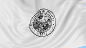 Nahaufnahme der wellenartig bewegenden Flagge mit Universität von Florida-Emblem, nahtlose Schleife, blauer Hintergrund Redaktion stock footage