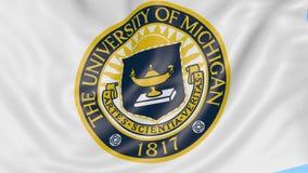 Nahaufnahme der wellenartig bewegenden Flagge mit University of Michigan-Emblem, nahtlose Schleife, blauer Hintergrund Redaktione stock video footage