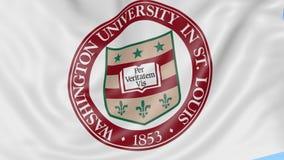 Nahaufnahme der wellenartig bewegenden Flagge mit Washington University-Emblem, nahtlose Schleife, blauer Hintergrund Redaktionel stock video