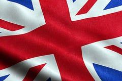 Nahaufnahme der wellenartig bewegenden Flagge von Union Jack, britisches Symbol Großbritanniens England Lizenzfreie Stockbilder