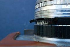 Nahaufnahme des alten Retro- Kameraobjektivs Lizenzfreie Stockfotos