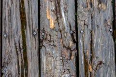 Nahaufnahme des alten rustikalen verwitterten Scheunenholzes Stockfoto