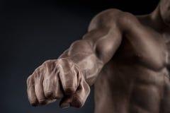 Nahaufnahme des athletischen muskulösen Armes und des Kernes Lizenzfreie Stockfotografie