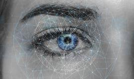 Nahaufnahme des Augennetzkonzeptes 3D der Frau der digitalen Wiedergabe Stockbilder