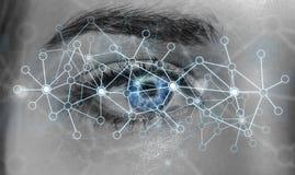 Nahaufnahme des Augennetzkonzeptes 3D der Frau der digitalen Wiedergabe Lizenzfreie Stockfotografie