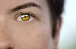 Nahaufnahme des Auges eines weiblichen Modells, das geringfügige Sommersprossen auf ihrer Haut zeigt stockbild