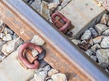 Nahaufnahme des Bahnbahngleishintergrundes Stockbilder